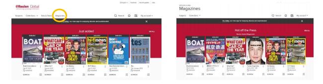 Se efter menupunktet Magazines i toppen af siden