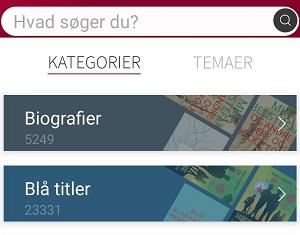 Kategorier vist i app