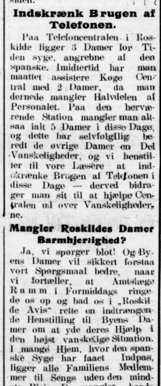 Roskilde Avis 29 oktober 1918.
