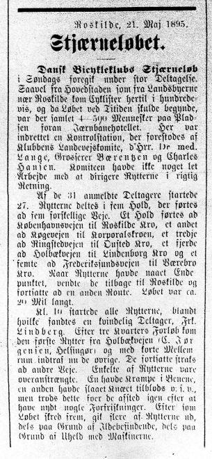 Avisomtale af det allerførste Stjerneløb i 1895. Roskilde Avis, 21. maj 1895