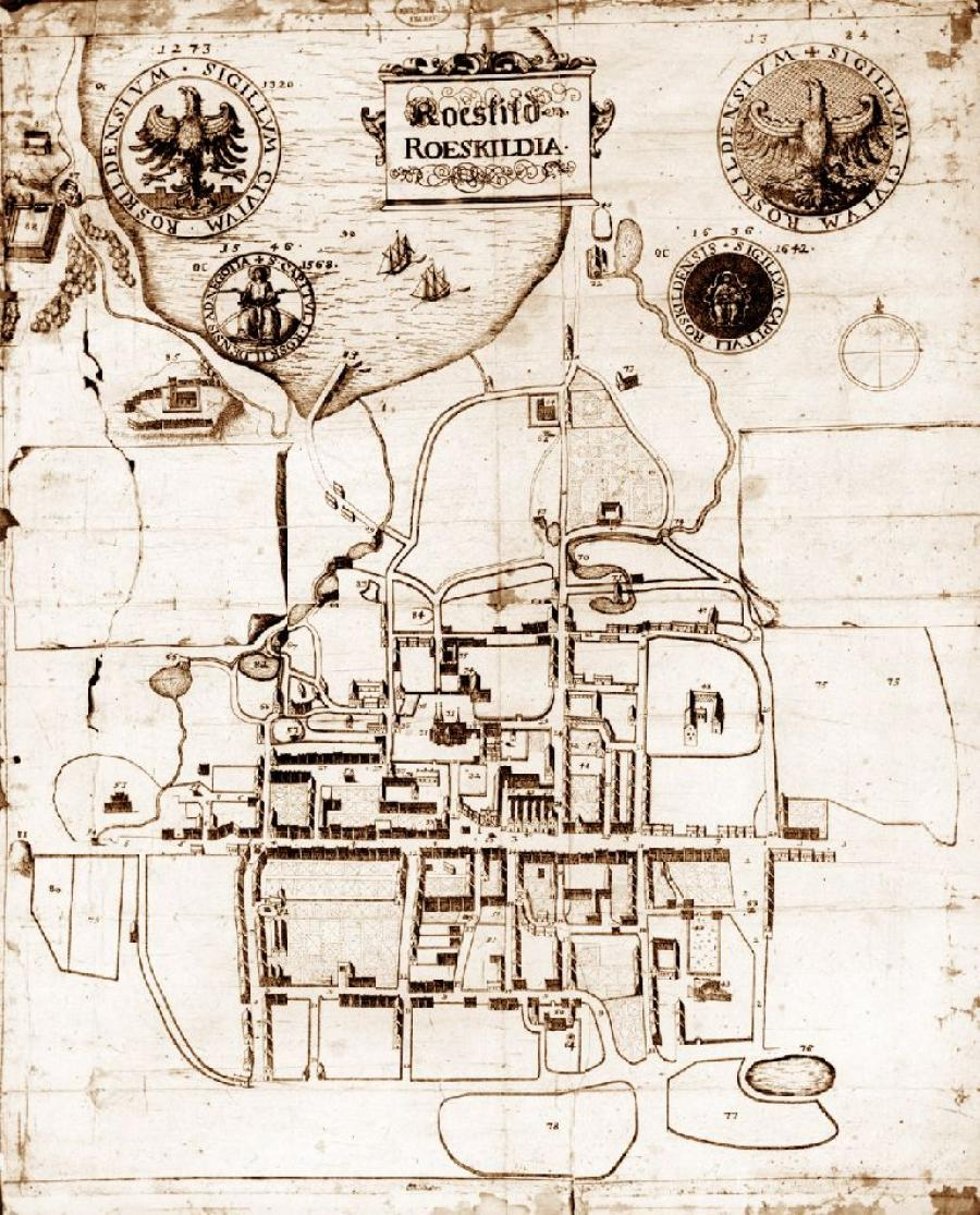 Resens kort over Roskilde, 1677
