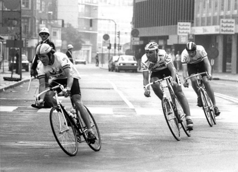 Cykelrytterne Jørgen Bo Petersen, John Carlsen og Bjørn Slangerup under Stjerneløbet 1988