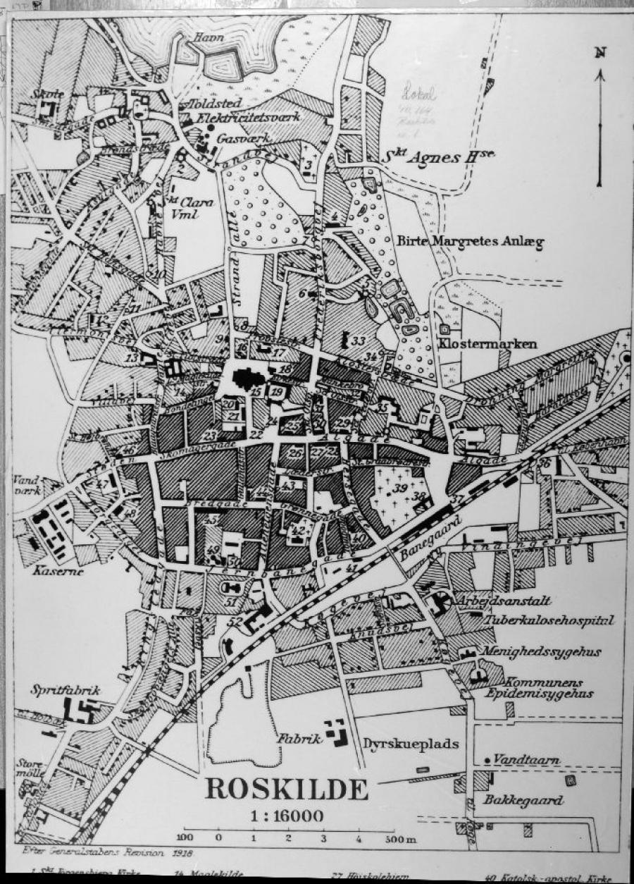Kort over Roskilde, 1918