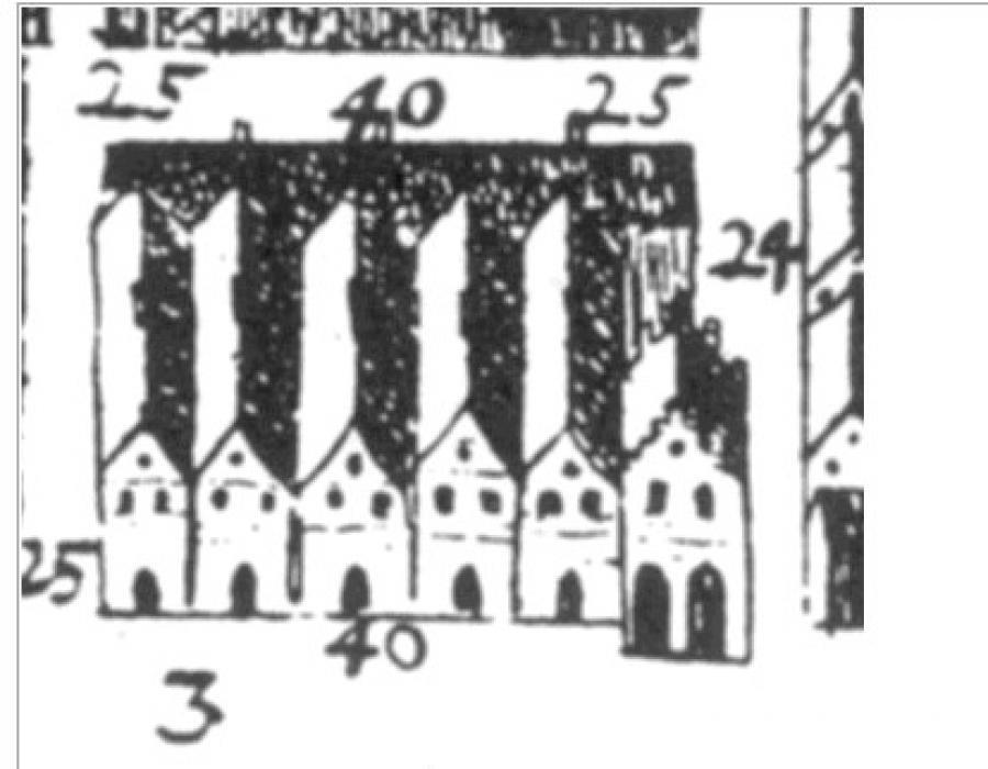 Resens kort over Roskilde, 1766, detalje